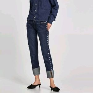 Zara Cuffed Denim Straight Leg Pearls size 2 Blue